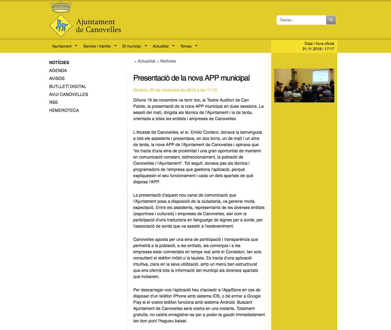 Presentació de la nova APP municipal